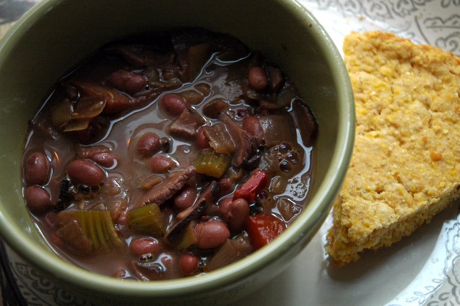 Red Bean and Shiitake Mushroom Soup with Ginger, served with skillet ...